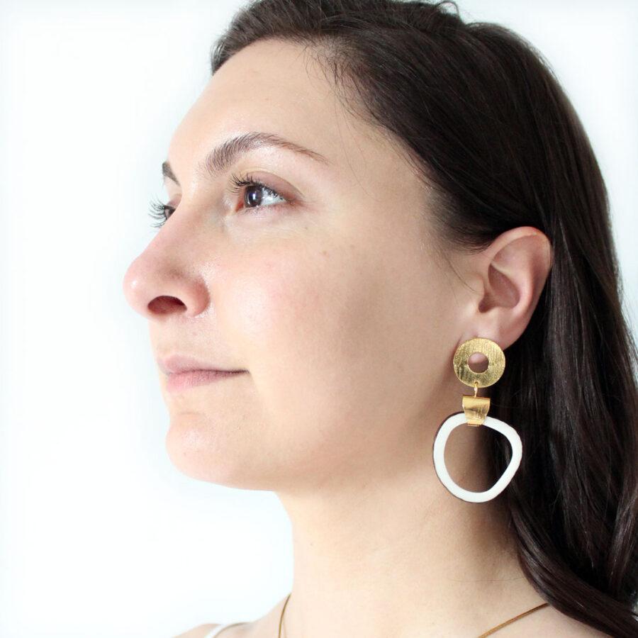 gold + tagua earrings
