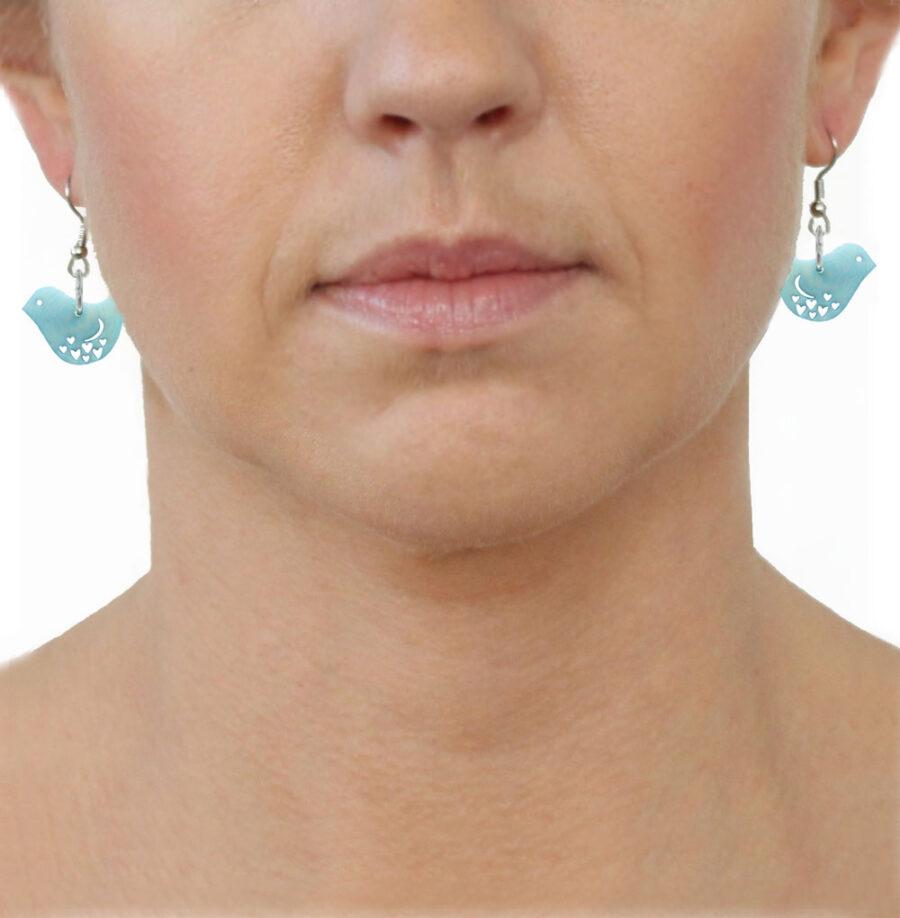 Tagua Earrings Blue Birds