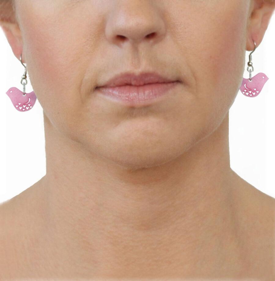 Tagua Earrings Pink Birds