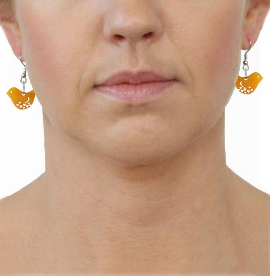Tagua Earrings Yellow Birds